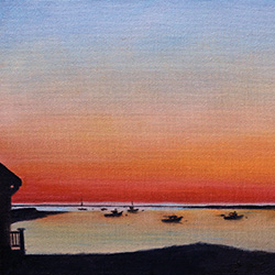 20181111 oil painting of cape cod sunrise chatham pier by american artist jeffrey dale starr
