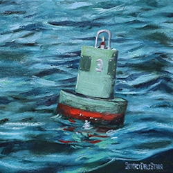 oil painting of buoy number 3 off cape cod by american artist jeffrey dale starr