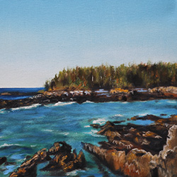 oil painting of rocky maine coastline by american artist jeffrey dale starr