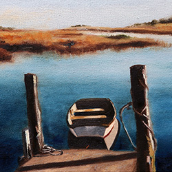oil painting of the lonely little boat on cape cod by american artist jeffrey dale starr