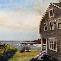 oil painting of driftwood inn bailey island maine by american artist jeffrey dale starr