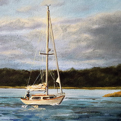 oil painting of sailboat off nantucket sound cape cod by american artist jeffrey dale starr