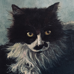 oil painting of the kitty with the fish mustache by american artist jeffrey dale starr