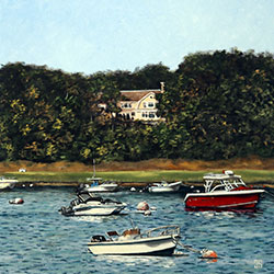Oil Painting of boats in a cove in Chatham Cape Cod MA by Jeffrey Dale Starr