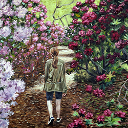 Oil painting of Among the Rhododendrons Heritage Gardens Sandwich Cape Cod by Jeffrey Dale Starr