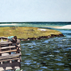 Oil Painting of Bass Hole Boardwalk at Grays Beach Yarmouthport Cape Cod MA by Jeffrey Dale Starr