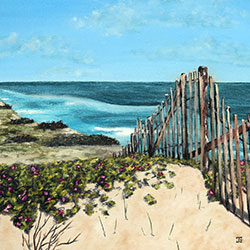 Oil Painting of Beach Roses in South Wellfleet Cape Cod MA by Jeffrey Dale Starr