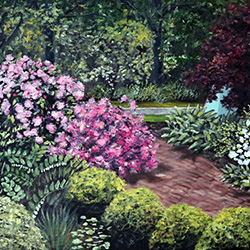 Oil Painting of Cape Cod Museum of Art Gardens by Jeffrey Dale Starr