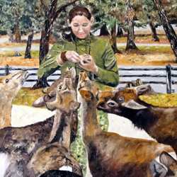 Oil Painting of Feeding Deer In Nara Japan by Jeffrey Dale Starr