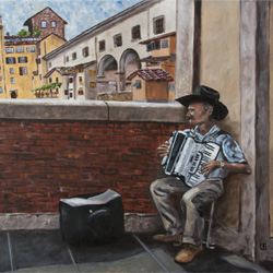 Oil Painting of Accordionist In Florence Italy by Jeffrey Dale Starr