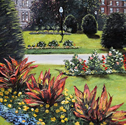 Oil Painting of flowers in Boston Public Garden by Jeffrey Dale Starr