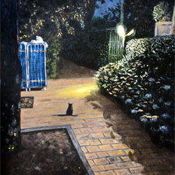 Oil Painting of Il Gatto Nero Della Toscana black cat Tuscany by Jeffrey Dale Starr