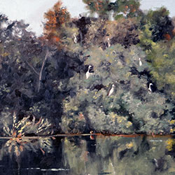 Oil Painting of Great Egrets in the Trees Hopper Pond West Barnstable Cape Cod MA by Jeffrey Dale Starr
