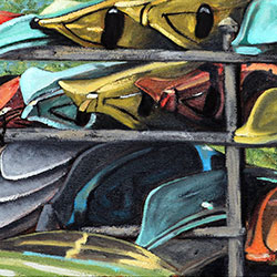 Oil Painting of kayaks and surfboards on Cape Cod MA by Jeffrey Dale Starr