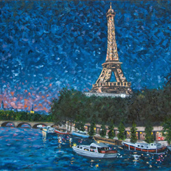 Oil Painting of La Nuit Tombe Sur La Seine by Jeffrey Dale Starr