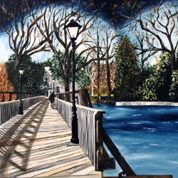 Oil Painting of Lakeside Park Bridge in Highland Park Texas by Jeffrey Dale Starr