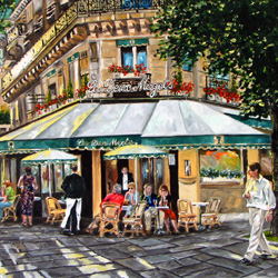 Oil Painting of Les Deux Magots Paris by Jeffrey Dale Starr
