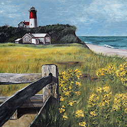 Oil Painting of Nauset Light in Cape Cod MA by Jeffrey Dale Starr