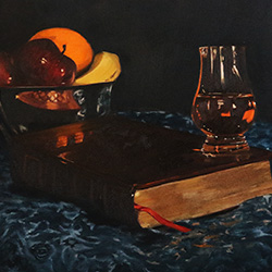 Oil Painting of a lovely Laphroaig evening Islay scotch by Jeffrey Dale Starr