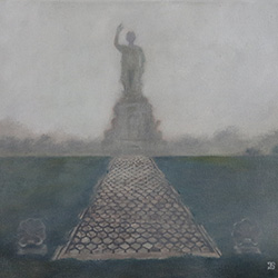 Oil painting of Approaching National Monument to the Forefathers on a Foggy Evening by Jeffrey Dale Starr