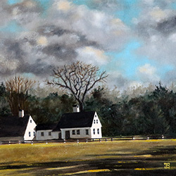 Oil painting of Burgess House Marstons Mills on Cape Cod by Jeffrey Dale Starr