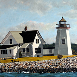 Oil painting of Wings Neck Lighthouse Cape Cod by Jeffrey Dale Starr