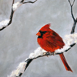 Oil painting of cardinal in snow by Jeffrey Dale Starr