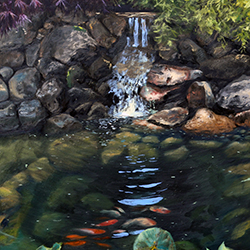Oil painting of koi pond on Cape Cod by Jeffrey Dale Starr