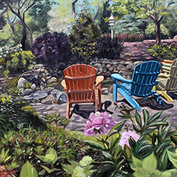 Oil painting of the garden of Nancy Boccia by Jeffrey Dale Starr