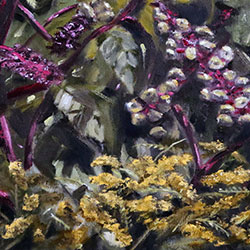 Oil Painting of pokeweed berries and goldenrod on Cape Cod MA by Jeffrey Dale Starr