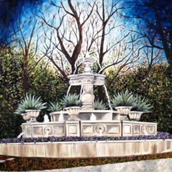 Oil Painting of Priddy Fountain in Highland Park Texas by Jeffrey Dale Starr