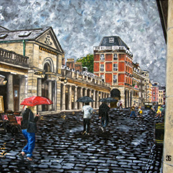 Oil Painting of Rainy Afternoon in Covent Garden in London by Jeffrey Dale Starr