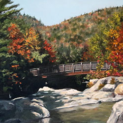 Oil painting of Birds of Rocky Gorge White Mountain National Forest New Hampshire by Jeffrey Dale Starr