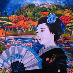 Oil Painting of Geisha Sensu Kimono Japan by Jeffrey Dale Starr