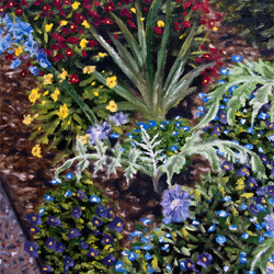 Oil Painting of Silvermist Flower Garden Disneyworld by Jeffrey Dale Starr