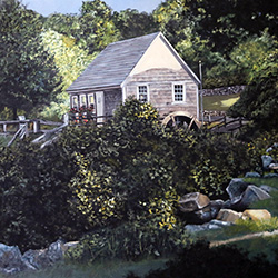 Oil Painting of Stony Brook Grist Mill Brewster Cape Cod MA by Jeffrey Dale Starr