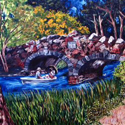 Oil Painting of Stow Lake Bridge In Golden Gate Park by Jeffrey Dale Starr