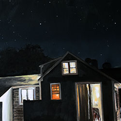 Oil Painting of The Majesty of What Will Be cottage at night on Cape Cod MA by Jeffrey Dale Starr
