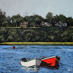 Oil Painting of two boats in Chatham Cape Cod MA by Jeffrey Dale Starr