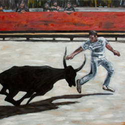 Oil Painting of Humane Bullfighting in Provence France by Jeffrey Dale Starr