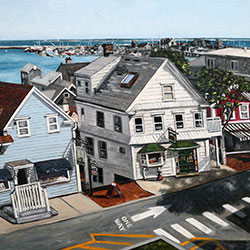 Oil Painting of View from Provincetown Library Cape Cod MA by Jeffrey Dale Starr