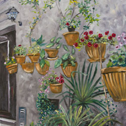 Oil Painting of Wall In Orvieto Italy hanging pots by Jeffrey Dale Starr