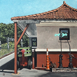 Oil Painting of West Barnstable Train Station Cape Cod MA by Jeffrey Dale Starr