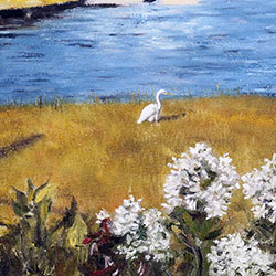 Oil painting of an egret in Bourne Cape Cod MA by Jeffrey Dale Starr