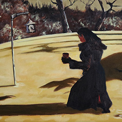 Oil painting of feeding the birds midwinter on Cape Cod by American artist Jeffrey Dale Starr