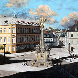 Oil painting of Main Square Sternberk Czech Republic by Jeffrey Dale Starr