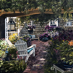 Oil painting of Marcs backyard in Sandwich Cape Cod MA by American artist Jeffrey Dale Starr
