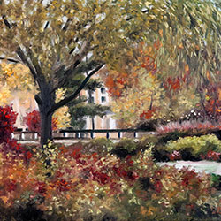 Oil painting of Monet Garden Mirbeau Spa by Jeffrey Dale Starr