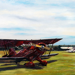 oil painting of cape cod airfield by jeffrey dale starr
