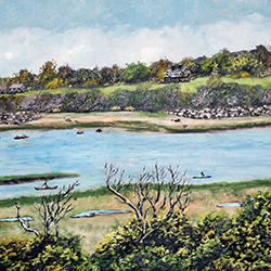 oil painting of kayakers in eastham on cape cod by american artist jeffrey dale starr